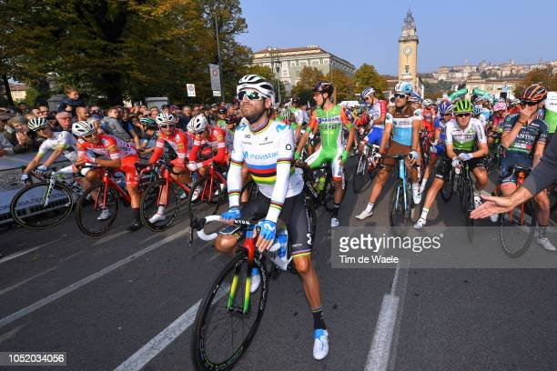 Start / Alejandro Valverde of Spain and Movistar Team / Peloton / during the 112th Il Lombardia 2018 a 241km race from Bergamo to Como / IL / on...