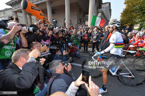 Start / Alejandro Valverde of Spain and Movistar Team / Press / Media / during the 112th Il Lombardia 2018 a 241km race from Bergamo to Como / IL /...
