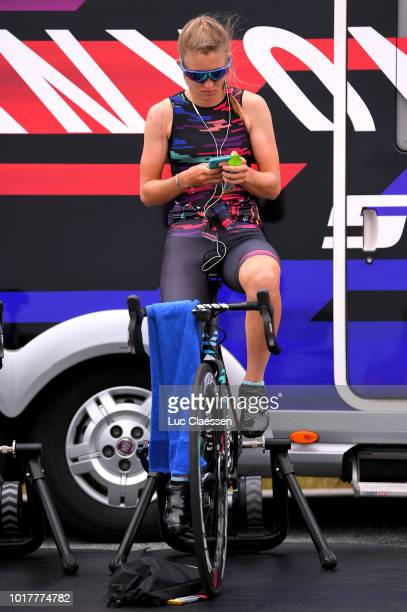 Start / Alexis Ryan of The United States and Team Canyon SRAM Racing / Warm up / Roller / during the 4th Ladies Tour of Norway 2018 a 243km Team Time...