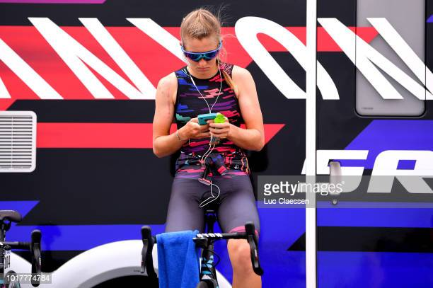 Start / Alexis Ryan of The United States and Team Canyon SRAM Racing / Warm up / during the 4th Ladies Tour of Norway 2018 a 243km Team Time Trial...