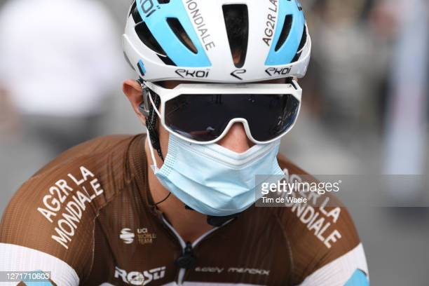 Start / Alexis Vuillermoz of France and Team Ag2R La Mondiale / Mask / Covid Safety Measures / Detail view / during the 107th Tour de France 2020,...
