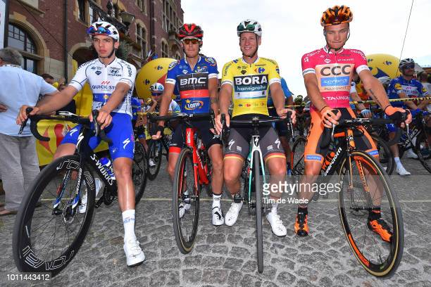 Start / Alvaro Jose Hodeg Chagui of Colombia and Team QuickStep Floors White Sprint Jersey / Alessandro De Marchi of Italy and Bmc Racing Team Blue...