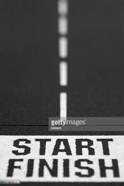 Start and finish line in roadway