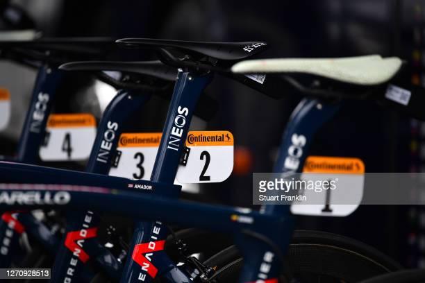 Start / Andrey Amador Bikkazakova of Costa Rica and Team INEOS Grenadiers / Pinarello Bike / Saddle / Detail view / during the 107th Tour de France...
