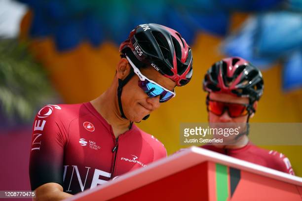 Start / Andrey Amador Bikkazakova of Costa Rica and Team INEOS / Sing In / Team Presentation / during the 6th UAE Tour 2020, Stage 4 a 173km stage...