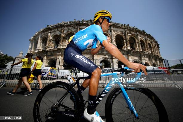 Start / Andrey Amador of Costa Rica and Movistar Team / Nîmes Arena Amphitheater / during the 106th Tour de France 2019, Stage 16 a 177km stage from...