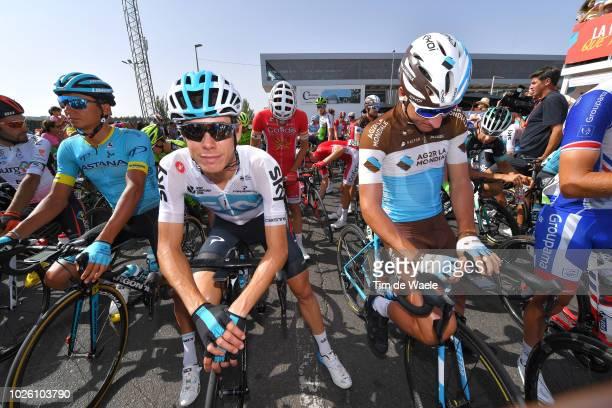 Start / Andrey Zeits of Kazakhstan and Astana Pro Team / David De La Cruz of Spain and Team Sky / Nans Peters of France and Team AG2R La Mondiale /...