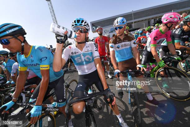 Start / Andrey Zeits of Kazakhstan and Astana Pro Team / David De La Cruz of Spain and Team Sky / Refreshment / Nans Peters of France and Team AG2R...