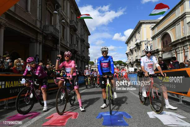 Start / Arnaud Demare of France and Groupama - FDJ Purple Points Jersey / Joao Almeida of Portugal and Team Deceuninck - Quick-Step Pink Leader...