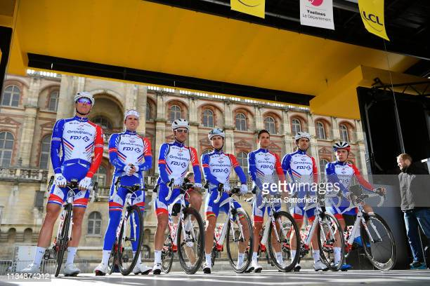 Start / Arnaud Demare of France and Team Groupama - FDJ / Jacopo Guarnieri of Italy and Team Groupama - FDJ / Ignatas Konovalovas of Lithuania and...