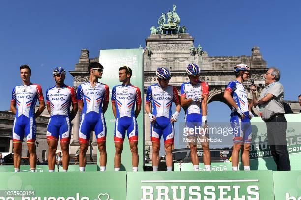 Start / Arnaud Demare of France / Jacopo Guarnieri of Italy / Daniel Hoelgaard of Norway / Ignatas Konovalovas of Lituania / Olivier Le Gac of France...