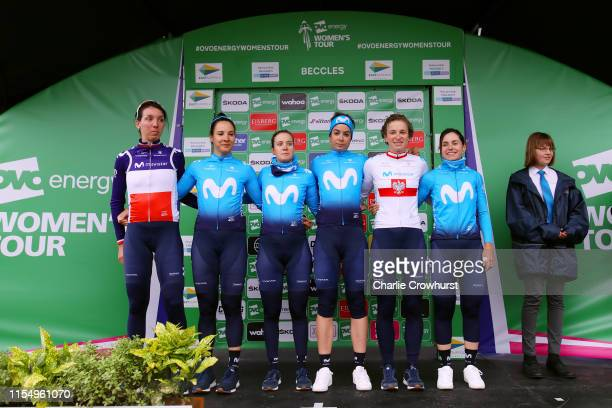Start / Aude Biannic of France and Movistar Team / Roxane Fournier of France and Movistar Team / Alicia González of Spain and Movistar Team / Sheyla...