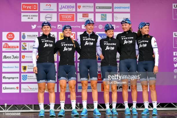 Start / Audrey Cordon-Ragot of France and Team Trek-Segafredo Women / Lauretta Hanson of Australia Team Trek-Segafredo Women / Letizia Paternoster of...