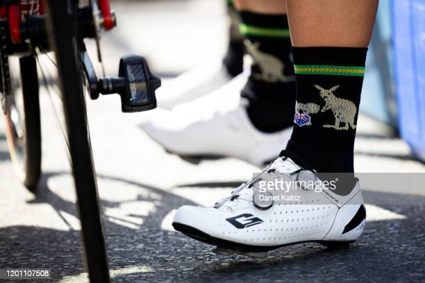 Start / Australia socks / Detail view / during the 22nd Santos Tour Down Under 2020, Stage 2 a 135,5km stage from Woodside to Stirling 422m / TDU /...