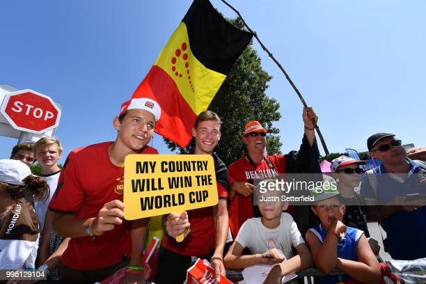 Start / Belgian fans support Belgium in the semifinals of the Russia Soccer World Cup during the 105th Tour de France 2018 Stage 4 a 195km stage from...