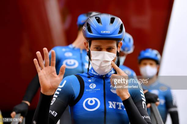 Start / Ben Dyball of Australia and NTT Pro Cycling Team / Mask / Covid safety measures / Team Presentation / during the 75th Tour of Spain 2020...