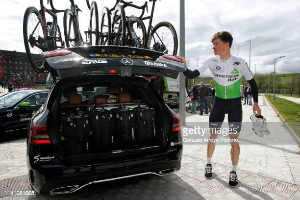 Start / Benjamin King of The United States and Team Dimension Data / Car / during the 59th ItzuliaVuelta Ciclista Pais Vasco 2019 Stage 3 a 1914 km...