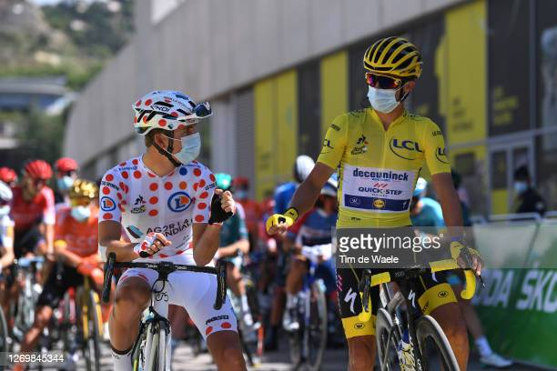 Start / Benoit Cosnefroy of France and Team Ag2R La Mondiale Polka Dot Mountain Jersey / Julian Alaphilippe of France and Team Deceuninck -...