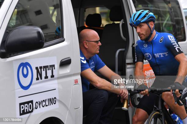 Start / Bjarne Riis of Denmark Team manager of Team NTT Pro Cycling / Danilo Wyss of Switzerland Team NTT Pro Cycling / Glenelg City / during the...