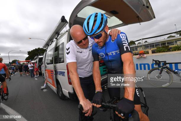 Start / Bjarne Riis of Denmark Team manager of Team NTT Pro Cycling / Danilo Wyss of Switzerland Team NTT Pro Cycling / McLaren Vale / during the...