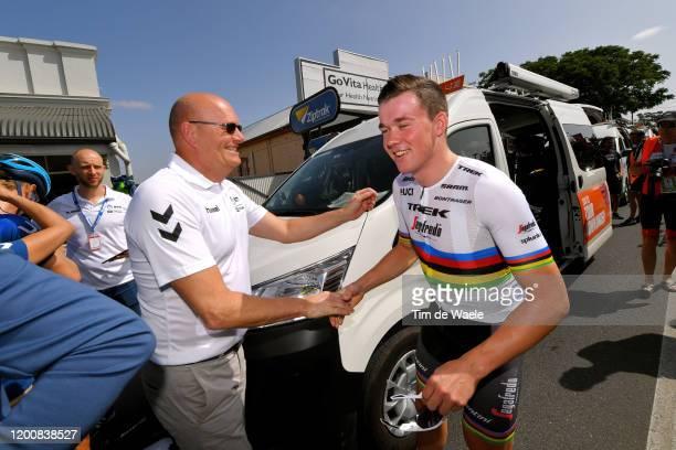 Start / Bjarne Riis of Denmark Team Team manager of Team NTT Pro Cycling / Mads Pedersen of Denmark and Team Trek-Segafredo World Champion Jersey /...