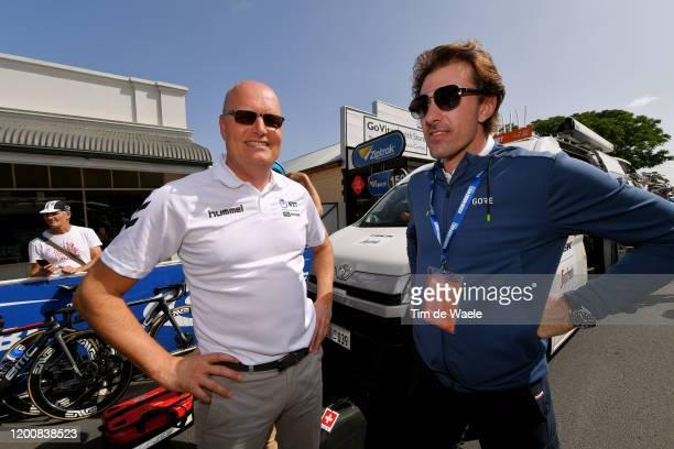 Start / Bjarne Riis of Denmark Team Team manager of Team NTT Pro Cycling / Fabian Cancellara of Switzerland ex pro cycling / during the 22nd Santos...