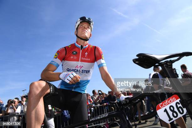 Start / Bob Jungels of Luxembourg and Team QuickStep Floors / during the 82nd La Fleche Wallonne 2018 a 1985km race from Seraing to Mur De Huy on...