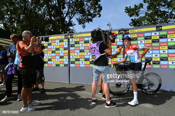 Start / Bob Jungels of Luxembourg and Team Quick-Step Floors / Interview / during the 105th Tour de France 2018, Stage 7 a 231km stage from Fougeres...