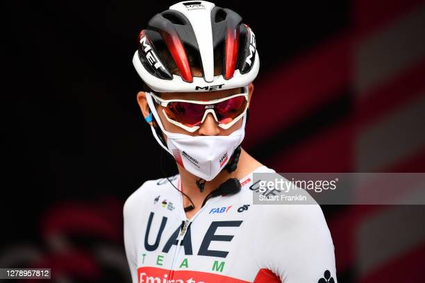 Start / Brandon Mcnulty of The United States and UAE Team Emirates / Mask / Covid safety measures / Team Presentation / during the 103rd Giro...