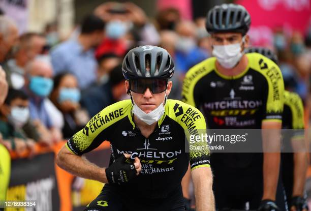 Start / Brent Bookwalter of The United States and Team Mitchelton - Scott / Mask / Covid safety measures / Team Presentation / during the 103rd Giro...