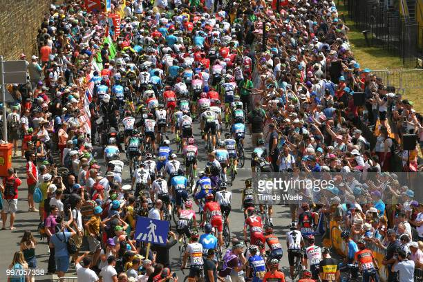 Start / Brest City / Peloton / Fans / Public / Landscape / during 105th Tour de France 2018, Stage 6 a 181km stage from Brest to Mur-de-Bretagne...