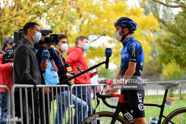 Start / Carlos Barbero Cuesta of Spain and NTT Pro Cycling Team / Press Media / Social distance / Mask / Covid safety measures / Team Presentation /...