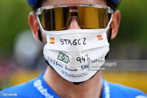 Start / Carlos Barbero Cuesta of Spain and NTT Pro Cycling Team / Shotaro Iribe of Japan and and NTT Pro Cycling Team Stay Strong / Mask / Covid...