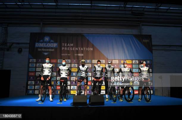 Start / Carlos Barbero of Spain, Victor Campenaerts of Belgium, Dimitri Claeys of Belgium, Michael Gogl of Austria, Sander Armee of Belgium, Emil...