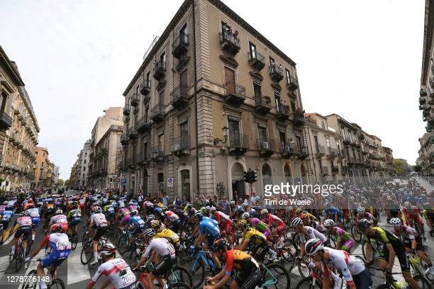 Start / Catania City / Landscape / Peloton / Fans / Public / during the 103rd Giro d'Italia 2020, Stage 4 a 140km stage from Catania to Villafranca...