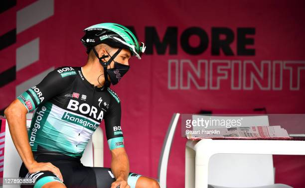 Start / Cesare Benedetti of Italy and Team Bora - Hansgrohe / Mask / Covid safety measures / Team Presentation / during the 103rd Giro d'Italia 2020,...