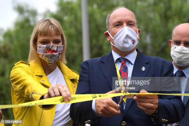 Start / Charlene of Monaco, Princess of Monaco / Albert II, Prince of Monaco / Mask / Covid safety measures / during the 107th Tour de France 2020,...