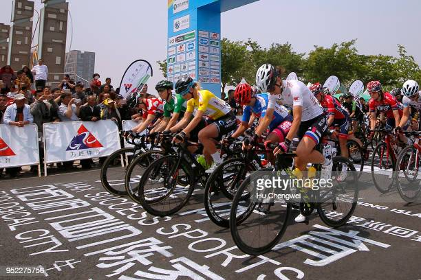 Start / Charlotte Becker of Germany and Team Hitec Products Yellow Leader Jersey / Giorgia Bronzini of Italy and Team Cylance Pro Cycling Green...