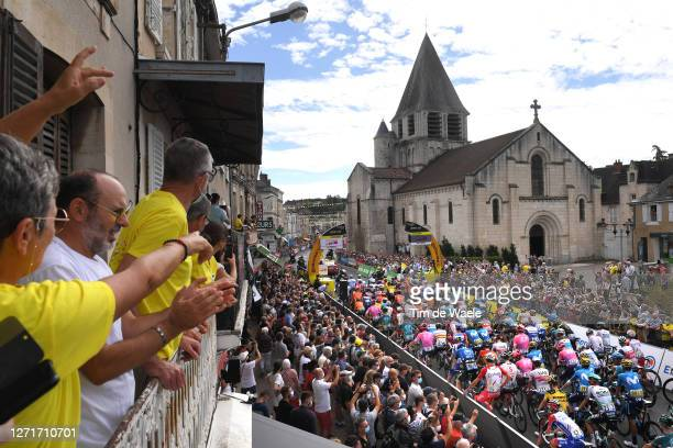 Start / Chauvigny Village / Peloton / Landscape / Fans / Public / during the 107th Tour de France 2020, Stage 12 a 218km stage from Chauvigny to...