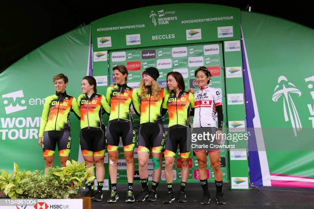 Start / Chloe Hosking of Australia and Team Ale Cipollini / Romy Kasper of The Netherlands and Team Ale Cipollini / Marjolein Van'T Geloof of The...