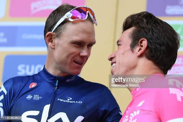 Start / Chris Froome of Great Britain and Team Sky / Rigoberto Urán of Colombia and EF Education First Pro Cycling Team / during the 2nd Tour of...