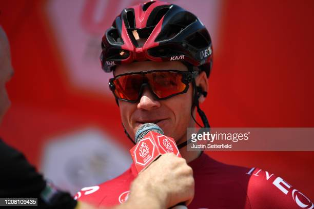 Start / Chris Froome of The United Kingdom and Team INEOS / Interview / during the 6th UAE Tour 2020 Stage 1 a 148km stage from Dubai The Pointe to...