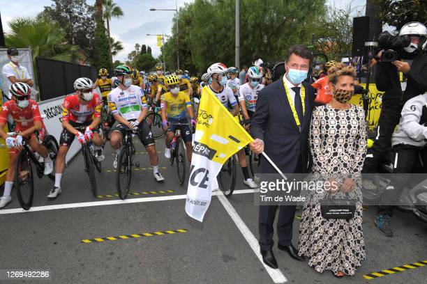 Start / Christian Estrosi of France Mayor of Nice and his wife Laura Tenoudji of France / Mask / Covid safety measures / during the 107th Tour de...