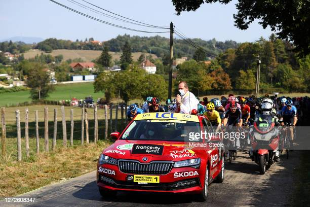 Start / Christian Prudhomme of France ASO Tour de France Director / Mask / Covid Safety Measures / Primoz Roglic of Slovenia and Team Jumbo Visma...