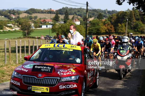 Start / Christian Prudhomme of France Tour de France Director / Primoz Roglic of Slovenia and Team Jumbo Visma Yellow Leader Jersey / Luke Rowe of...