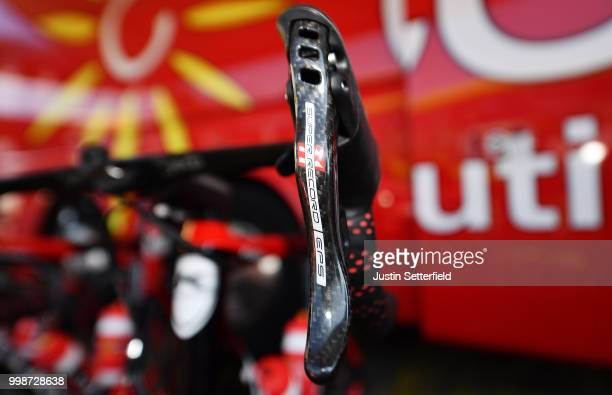 Start / Christophe Laporte of France and Team Cofidis / Brake hoods / Kuota Bike / Detail View / during the 105th Tour de France 2018 Stage 8 a 181km...