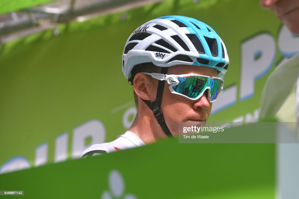 Start / Christopher Froome of Great Britain and Team Sky / during the 42nd Tour of the Alps 2018, Stage 1 a 134,6km stage from Arco to Folgaria 1160m on April 16, 2018 in Folgaria, Italy.