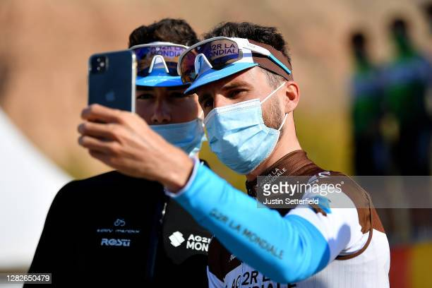 Start / Clement Champoussin of France and Team AG2R La Mondiale / Quentin Jauregui of France and Team AG2R La Mondiale / Mask / Covid safety measures...