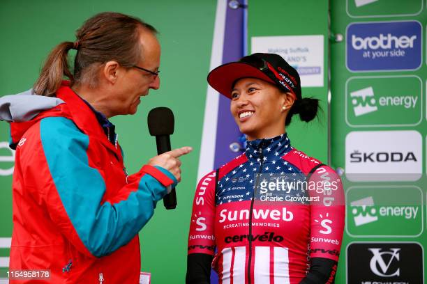 Start / Coryn Rivera of The United States and Team Sunweb / Team Presentation / during the 6th OVO Energy Women's Tour 2019 Stage 1 a 1576 km stage...