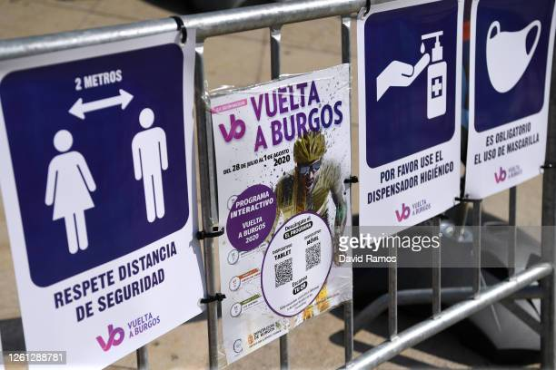 Start / Covid Safe information measures during the 42nd Vuelta a Burgos 2020, Stage 1 a 157km stage from Burgos to Burgos - Alto del Castillo 976m /...